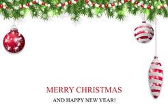 De Kerstmisachtergrond, de slinger van de Nieuwjaardecoratie met spar vertakt zich, rode snuisterijen en parels Vector vector illustratie