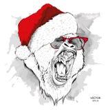 De Kerstmisaffiche met het beeld van gorillaportret in Kerstman` s hoed Vector illustratie Stock Afbeelding