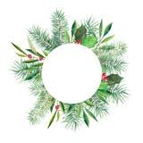 De Kerstmisbanner met ronde witte ruimte, de spar, de hulst en de olijf vertakken zich Waterverf handdrawn illustratie op wit wor stock illustratie