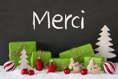 De Kerstmisdecoratie, Cement, Sneeuw, Merci-Middelen dankt u Royalty-vrije Stock Afbeelding