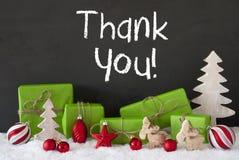 De Kerstmisdecoratie, Cement, Sneeuw, Tekst dankt u Stock Foto's