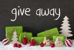 De Kerstmisdecoratie, Cement, Sneeuw, Tekst geeft weg Royalty-vrije Stock Afbeelding