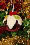 De Kerstmisdecoratie voor boom in goud schitteren en rood Royalty-vrije Stock Afbeeldingen