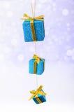 De Kerstmisgiften schitteren achtergrond met exemplaarruimte Vrolijke Kerstmis en Gelukkig Nieuwjaar Royalty-vrije Stock Fotografie