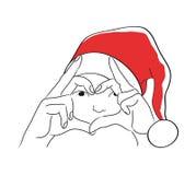 De Kerstmiskaart met trekt van meisje in Kerstman` s hoed Stock Foto