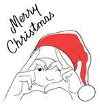 De Kerstmiskaart met trekt van meisje in Kerstman` s hoed en Kalligrafisch Stock Afbeeldingen