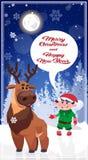 De Kerstmiskarakters in de Winter Forest Happy New Year Poster ontwerpen Royalty-vrije Stock Foto's