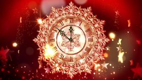 De Kerstmisklok slaat middernacht stock videobeelden