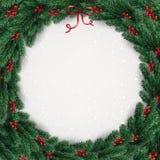 De Kerstmiskroon van boom vertakt zich, bessen op witte achtergrond met lichten, sneeuwvlokken vector illustratie