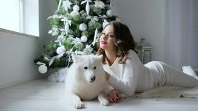 De Kerstmisochtend, vrouw stelt met witte hond in comfortabele atmosfeer op photoshoot dichtbij verfraaid nieuwe jaarboom