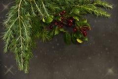 De Kerstmisornamenten met kleine rode bessen, heldere ballen, rode kaarsen en een pijnboom vertakken zich stock foto's