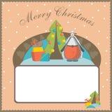 De Kerstmisprentbriefkaar, malplaatje, schapen is een symbool van het nieuwe jaar Royalty-vrije Stock Foto