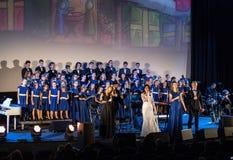 De Kerstmisretorica Van verschillende media die - aan Bethlehem door Filharmonia Futura en Koor Fermata wordt uitgevoerd Krakau p stock afbeeldingen