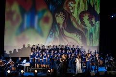 De Kerstmisretorica Van verschillende media die - aan Bethlehem door Filharmonia Futura en Koor Fermata wordt uitgevoerd Krakau p stock afbeelding