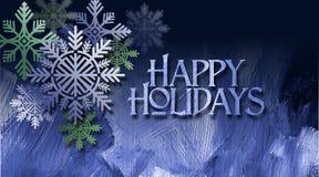 De Kerstmissneeuwvlok siert blauwe geweven Gelukkige Vakantie Royalty-vrije Stock Afbeeldingen