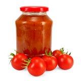 De ketchup en de tomaten van de tomaat Royalty-vrije Stock Fotografie