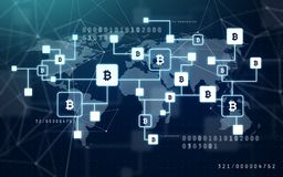 De keten van het Bitcoinblok projectie stock foto's
