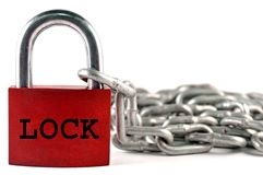 De ketting van het slot en van het metaal Royalty-vrije Stock Foto