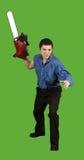 De kettingzaag Stalker bedreigt Zijn Prooi Stock Fotografie