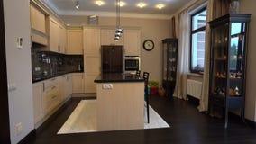 De keuken in de flat Het ontwerp van de keukenruimte Binnenlands huis, royalty-vrije stock afbeelding