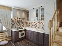 De keuken in het logboekbinnenland in een moderne stijl van bruin en w Stock Foto