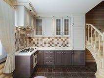 De keuken in het logboekbinnenland in een moderne stijl van bruin en w Stock Fotografie