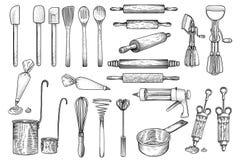 De keuken, hulpmiddel, werktuig, vector, tekening, gravure, illustratie, zwaait, deegrol, het verfraaien stock afbeelding