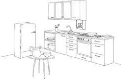 De keuken plaatste en schetst Vectorillustratie Stock Foto's