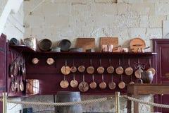 De keuken in Valencay-kasteel. Vallei van de Loire, Stock Afbeelding