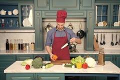 De Keuken van chef-kokcooking food in royalty-vrije stock afbeeldingen