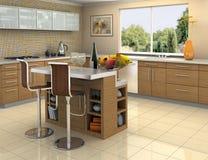 De keuken van het hout en van het staal stock foto