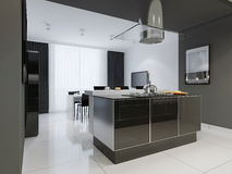 De keukenbinnenland van de Minimalismstijl in zwart-wit tonen Stock Foto