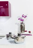 De keukenbinnenland van Nice met orchideebloem Stock Fotografie