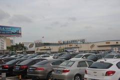 De Keurige rijen van auto's in SHEKOU-werf SHENZHEN Royalty-vrije Stock Foto's