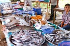 De keus van vissen op de lokale markt in LAK Khao Royalty-vrije Stock Foto
