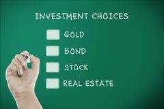 De keuzen van besluit abount invesment Royalty-vrije Stock Afbeelding