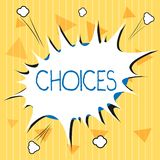 De Keuzen van de handschrifttekst Concept die Opties betekenen die tussen twee of meer mogelijkhedenbesluiten kiezen royalty-vrije illustratie