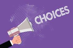 De Keuzen van de handschrifttekst Concept die Opties betekenen die tussen twee of meer mogelijkhedenbesluiten kiezen vector illustratie