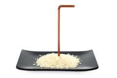 De Kiem van de rijst op schotel stock afbeeldingen