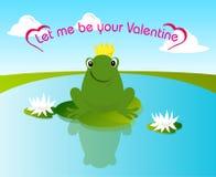 De kikker van de valentijnskaart Stock Afbeeldingen