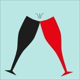 De kin-kin van twee wijnglazen Royalty-vrije Stock Afbeeldingen