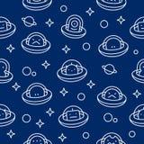De kinderachtige UFOvreemdelingen verdunnen het beeldverhaalpatroon van de lijnstijl stock illustratie