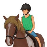 De kinderen bereden op bruine paarden royalty-vrije stock fotografie