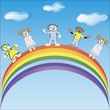 De kinderen berijden op een regenboog Vector illustratie Royalty-vrije Illustratie