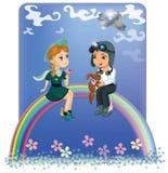 De kinderen bij de regenboog Royalty-vrije Stock Foto