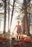 De kinderen bij pompoen herstellen royalty-vrije stock afbeeldingen