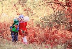 De kinderen in de herfst parkeren Stock Afbeelding