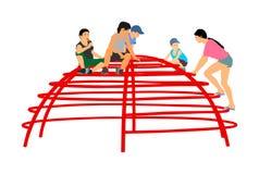 De kinderen die bij het stuk speelgoed van de speelplaatsklimmer in vermaak spelen parkeren illustratie Openlucht activiteit royalty-vrije illustratie