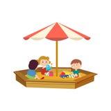 De kinderen die in de zandbak op de speelplaats spelen, communiceren vector illustratie