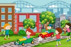 De kinderen die gaan karts rennen stock illustratie